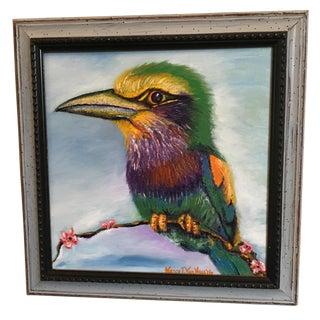 """Framed """"Big Head Bird"""" Original Oil Painting"""