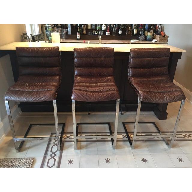 Restoration Hardware Oviedo Leather Bar Stool Set Of 3