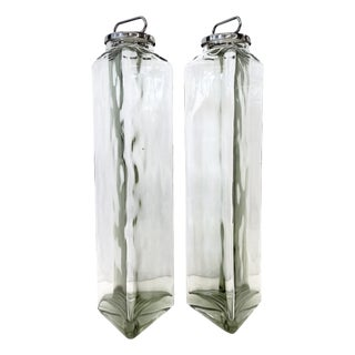 Vintage Tall Glass Covered Storage Jars - a Pair