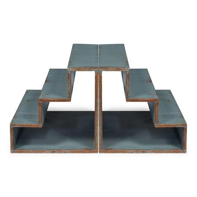Sarreid Ltd Pale Blue Step Side Table - Image 4 of 5