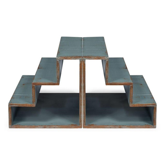 Image of Sarreid Ltd Pale Blue Step Side Table