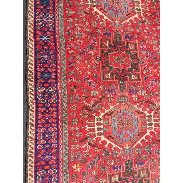 "Vintage Heriz Persian Red Runner - 4'6"" x 12'3"" - Image 11 of 11"
