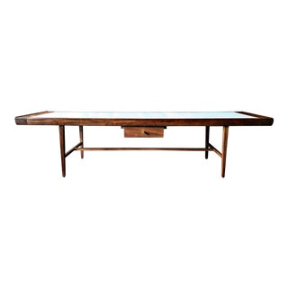 Mid Century Walnut Coffee Table with 2 Sided Drawer