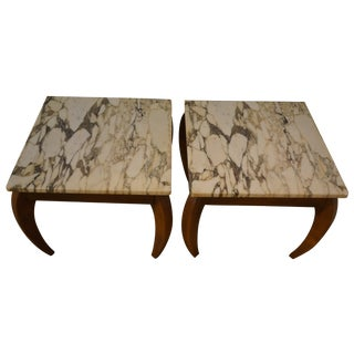 Mid-Century Marble and Walnut Side Tables - A Pair