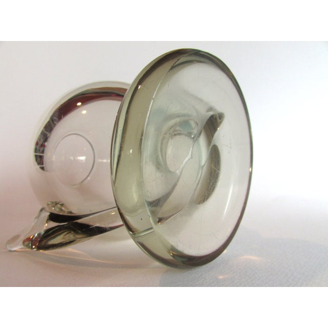 Image of 1920s Hand Blown Abstract Vaseline Glass Vase
