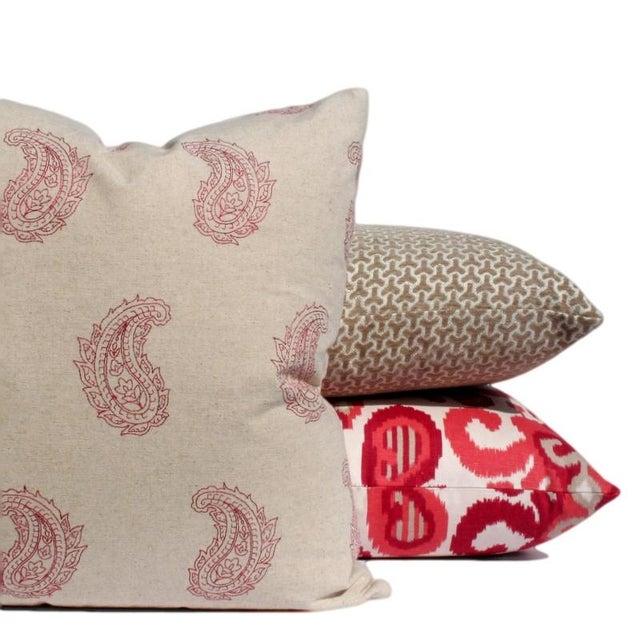 Modern Geometric Neutral Velvet Pillow - Image 2 of 2
