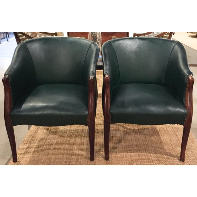 Green Barrel Chairs, Nail Head Trim - Pair - Image 2 of 9