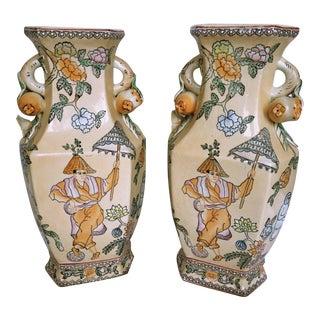 Hexagonal Peach Colored Chinese Vases - Pair