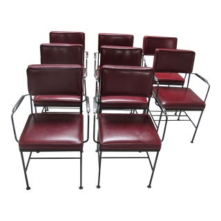 French Red Faux Leather Chairs - Set of 8