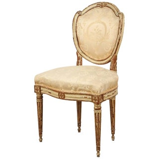 Neoclassical Cream Painted and Parcel Gilt Chair