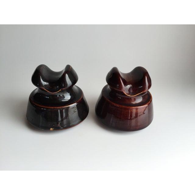 Image of Vintage 1940s Brown Porcelain Insulators - A Pair