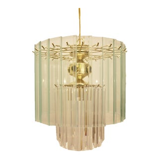 Hollywood Regency Brass, Glass & Lucite Chandelier