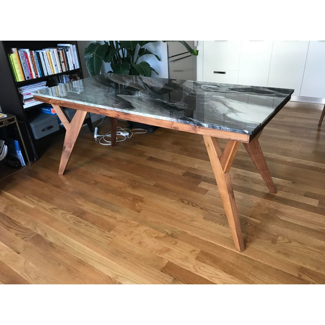 Mid-Century American Marble Top Walnut Table - Image 2 of 7