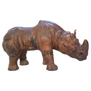 Handmade Brown Leather African Rhinoceros
