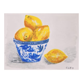 Lemon Still Life Abstract Painting by Cleo