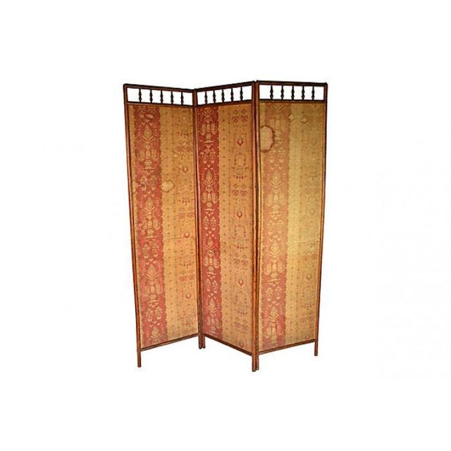 Antique Hand-Dyed Linen Tapestry Room Screen - Image 2 of 7