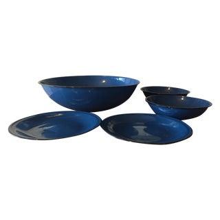 Blue and Black Rim Enamelware Set - 5 Pieces