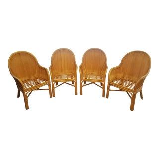 Palm Beach Pencil Reed Rattan Dining Chairs - Set of 4