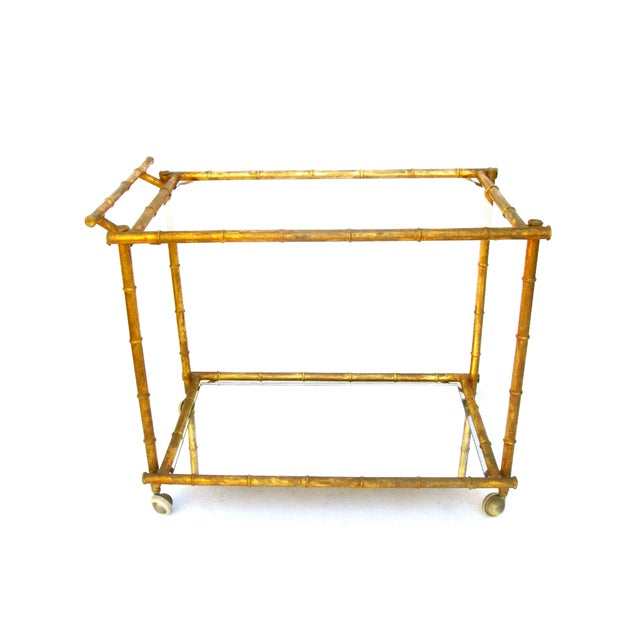 Italian Gold Gilt Iron And Glass Faux Bamboo Metal Square: Vintage Italian Faux Bamboo Gold Bar Cart