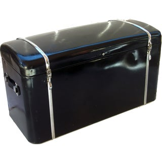 Antique 1930 Black Metal Car Trunk