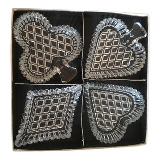 1960s Crystal Playing Card Suit Trinket Dish Set/4
