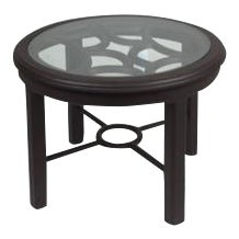 Aluminum Glass Top Indoor Outdoor Accent Table