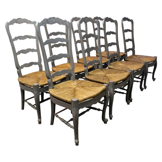 Country French Rush Seat Dining Chairs - Set of 8 - Image 1 of 8
