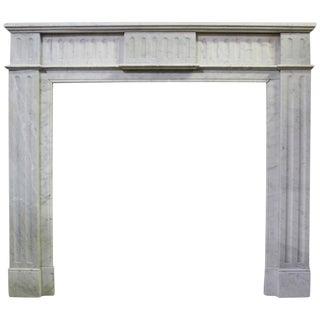French Louis XVI Style White Marble Mantel