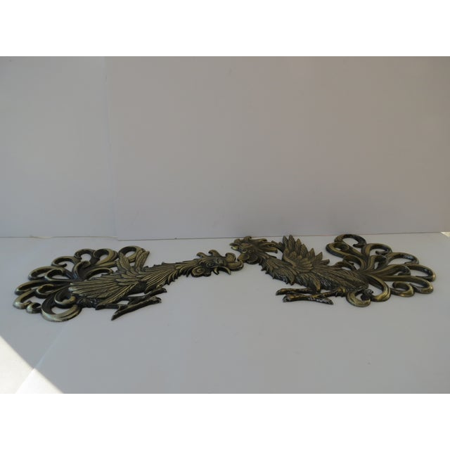Brass Rooster Wall Hangings- A Pair - Image 9 of 9