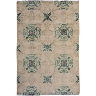 "Eclectic, Hand Knotted Area Rug - 4' 1"" X 6' 2"""