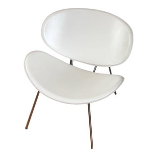 White Leather Clam Shell Chair