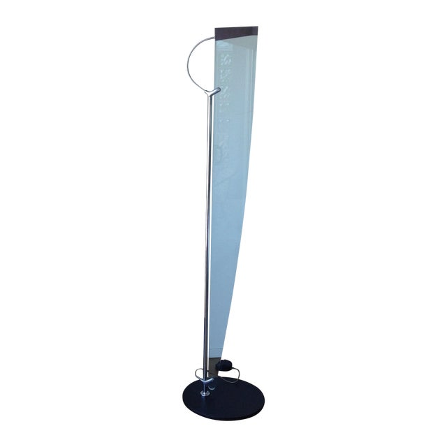 Sculptural chrome glass italian floor lamp chairish for Floor lamps chrome and glass