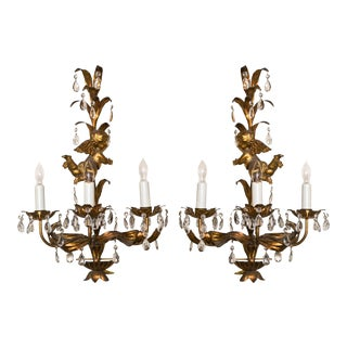 French Gilt-Brass 3-Light Wall Sconces - A Pair