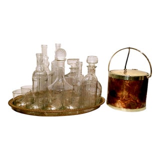 "Vintage ""Galleon"" Etched Glass & Brass  Bar Set - S/15"
