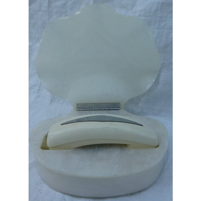Image of Vintage White Clamshell Telephone