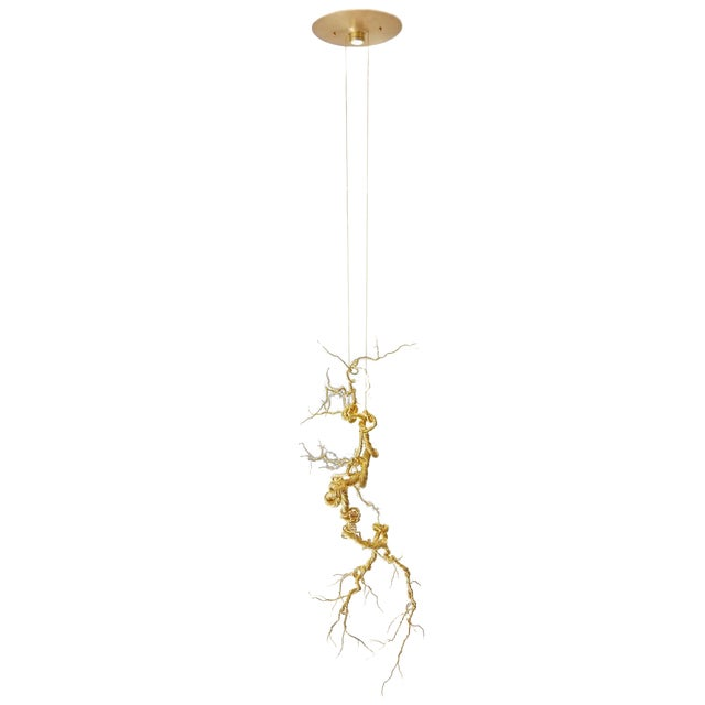 Untitled Twisted Brass Lit Sculpture - Image 1 of 7