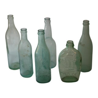 Vintage Aqua Bottles - Set of 6