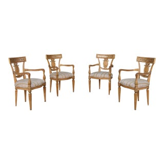 Antique Italian Set of 4 Dining Arm Chairs