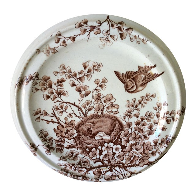 Shabby Chic Brown & White Birds Nest Cookie Plate - Image 1 of 3