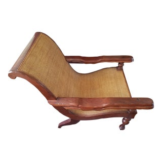 Teak and Cane Plantation Chair