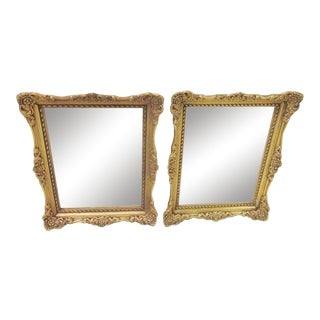 Italian Baroque Carved Floral Mirrors - A Pair