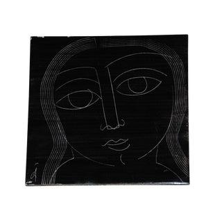 1960s Black Abstract Mid Century Tile
