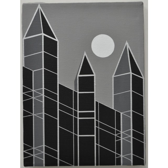 1989 Charles Hersey Vintage Op Art Cityscape - Image 2 of 3