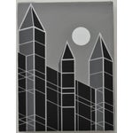 Image of 1989 Charles Hersey Vintage Op Art Cityscape