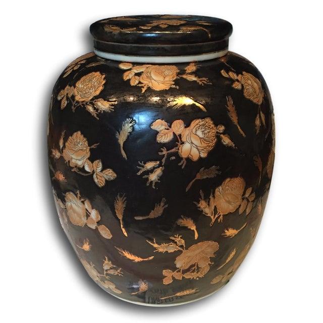Image of Black & Gold Antique Ginger Jar