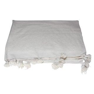 Moroccan Large White Pom Pom Blanket