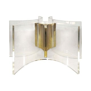 Curved Lucite & Brass Coffee Table Base