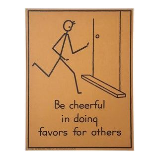 "Vintage 1940's Double-Sided ""Good Manners"" Stick Figure Poster - Be Cheerful/Take Part"