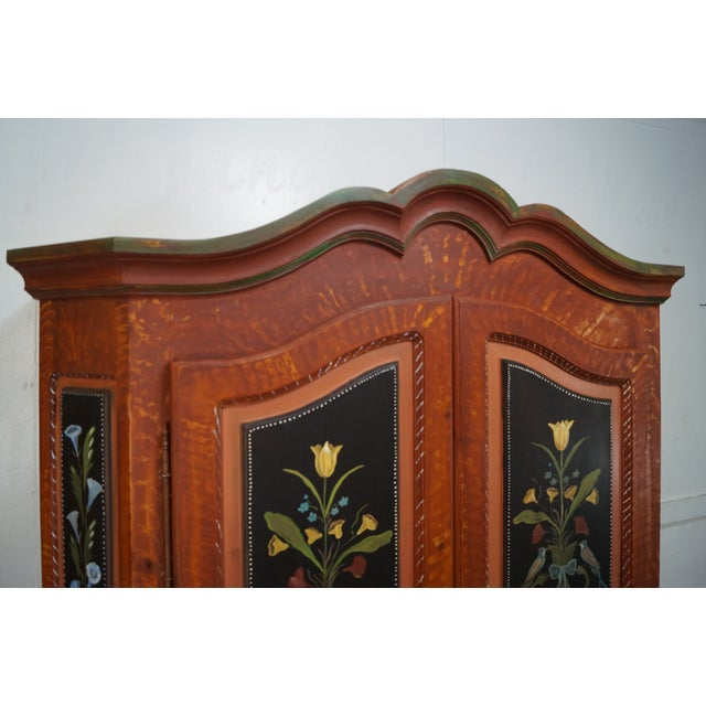 French Style Hand Painted Armoire Cabinet - Image 8 of 10