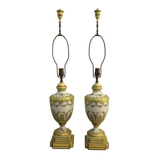 19th Century French Porcelain Urn Form Table Lamps- a Pair